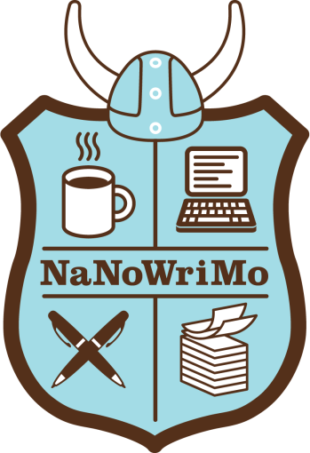 NaNoWriMo's brown and blue shield Logo topped with a Viking helmet